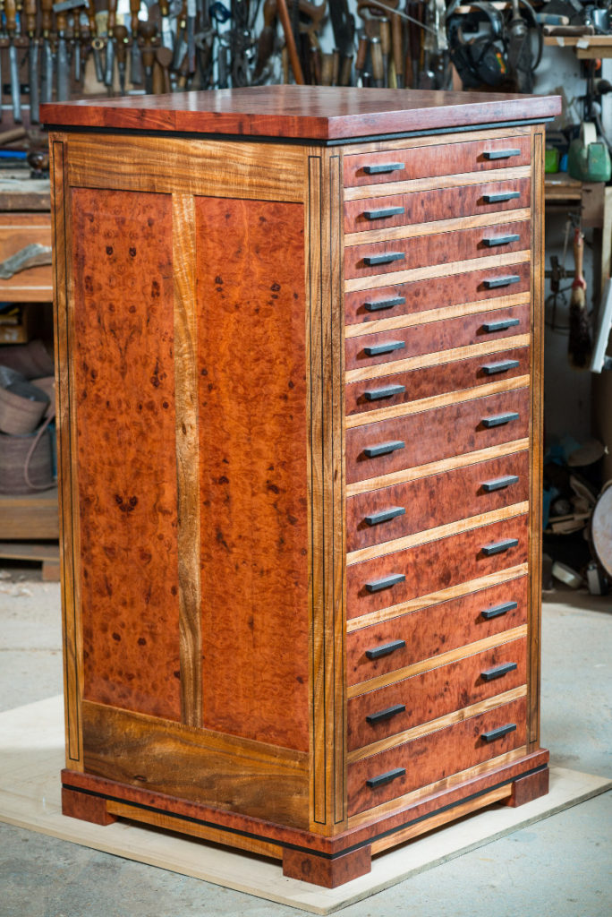 rare shell drawer cabinet in Australian red gum, blackwood and ancient red gum' 2016