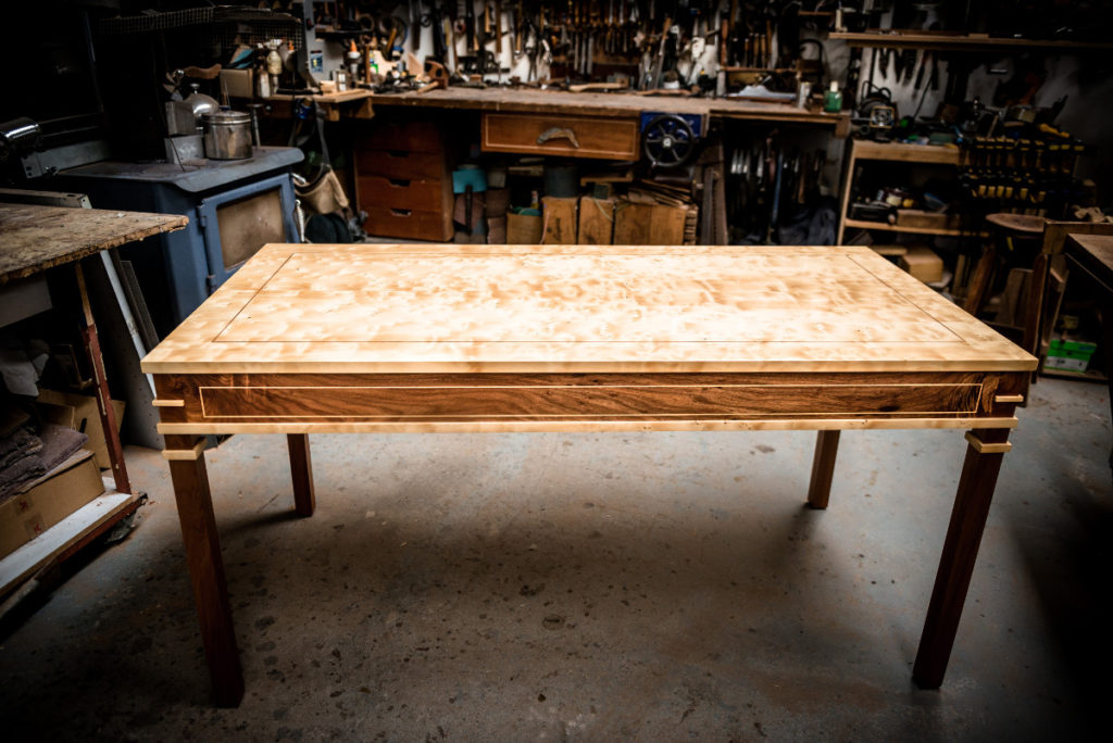 quilted bird's eye huon pine and blackwood table