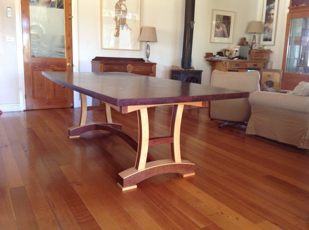 Australian blackwood slab table with Queensland silver ash refectory