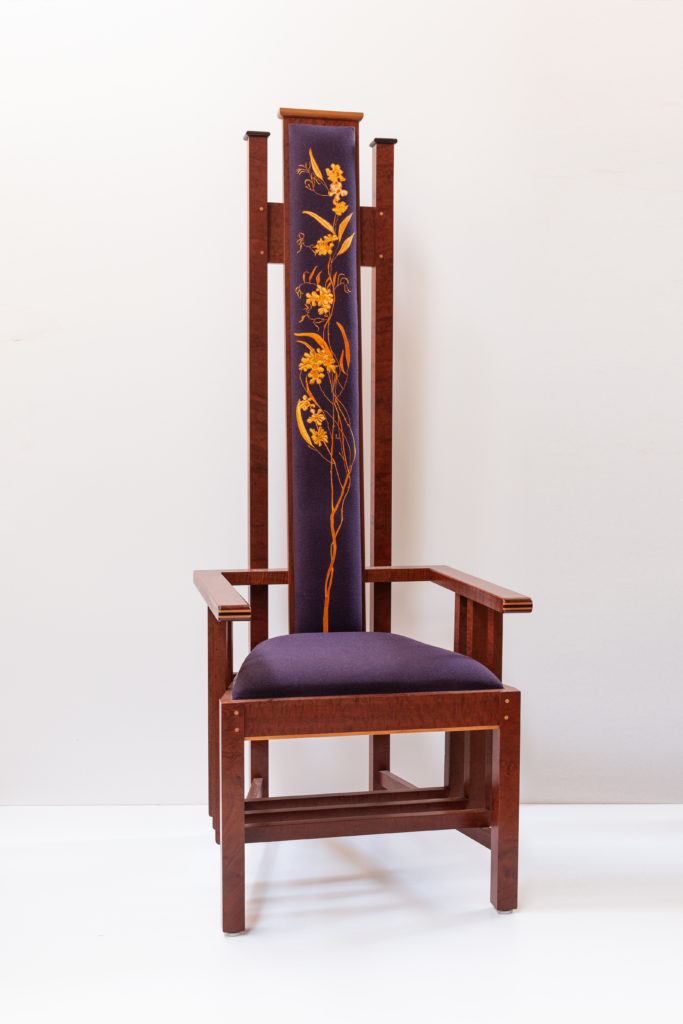 ceremonial throne chair with bespoke tapestry