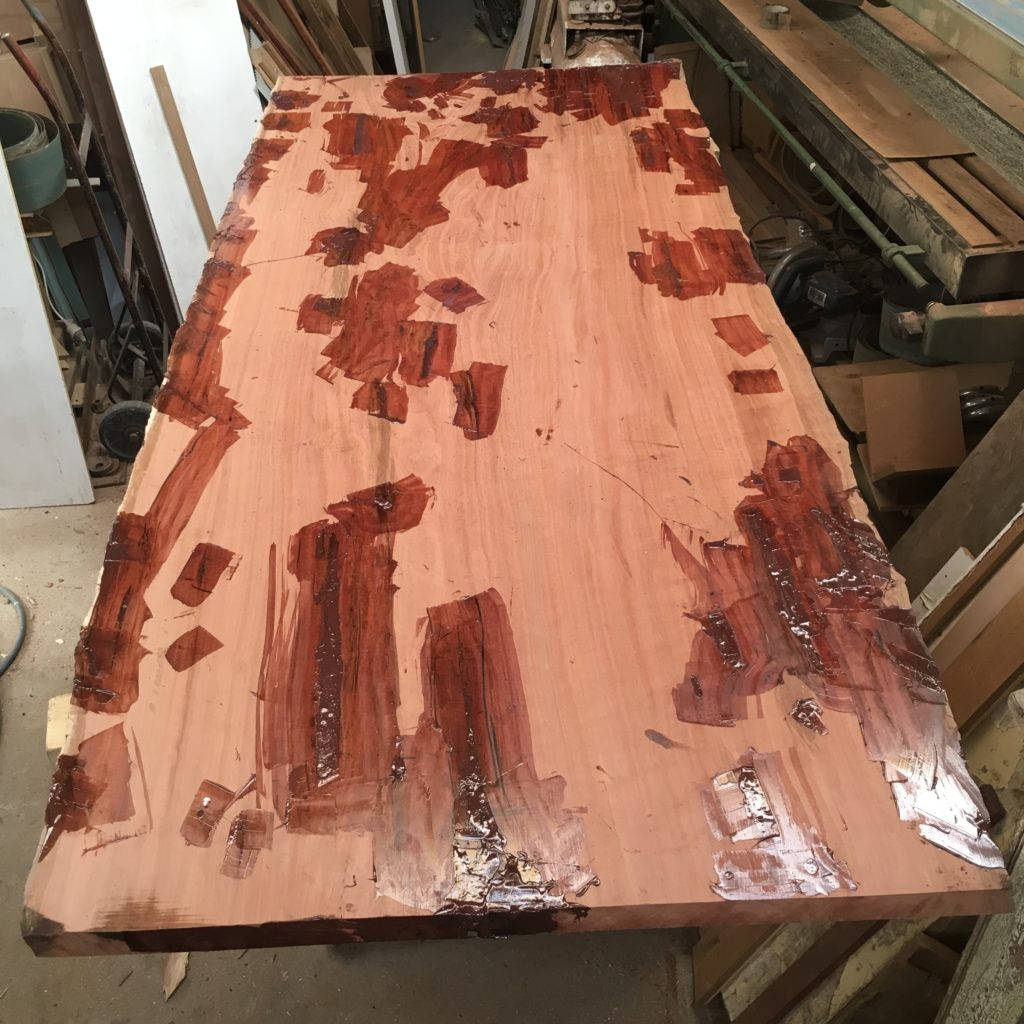 red gum slab table in process - after filling process