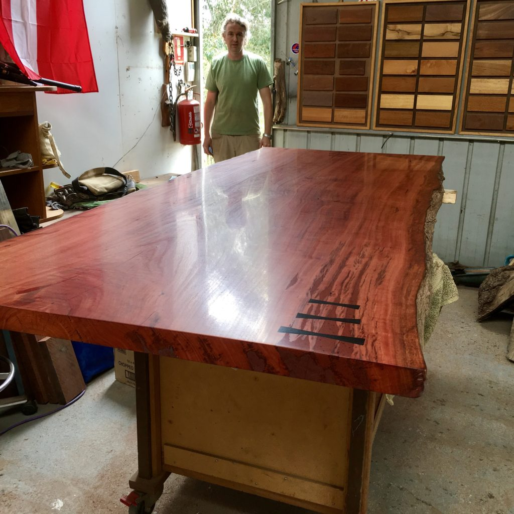 red gum slab table with ancient red gum bowtie/butterfly