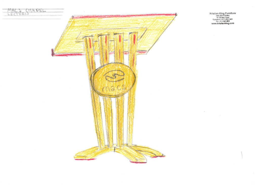 peppermint gum lectern with red gum detail - drawing