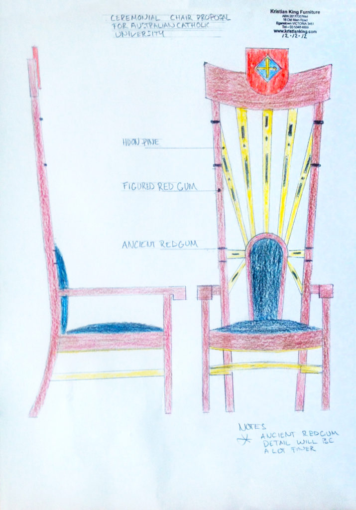 Australian Catholic University ceremonial throne chair - proposal drawing